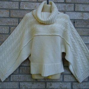 MODA International Ivory Wool Cowl Neck Sweater